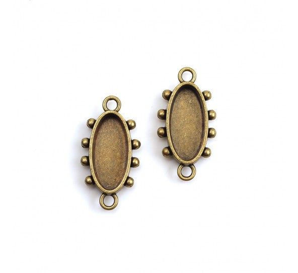 Hobnail Oval Bezel, Small, Antique Brass, 2 pc - Press Metals