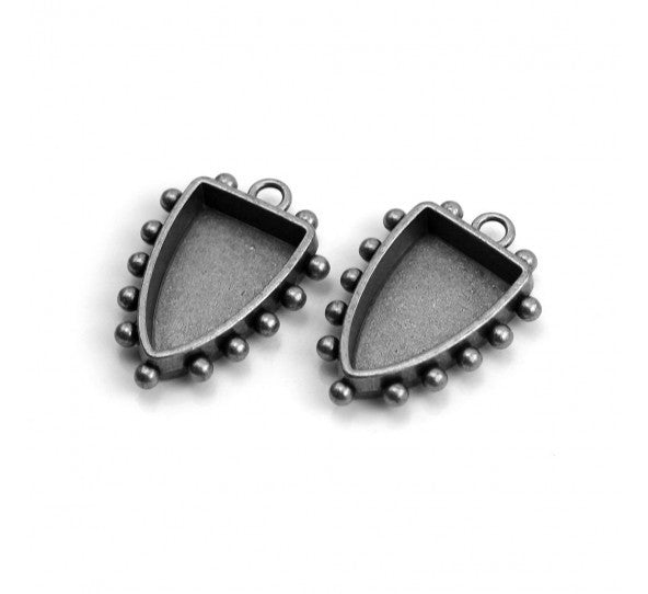 Hobnail Shield Bezel, Small, Antique Silver, 2 pc - Press Metals