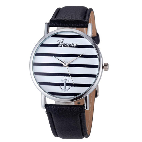 Women Watches Striped Anchor Female PU Leather Fashion Wristwatches Ladies Clock Relojes Mujer relogio feminino 2017 #527