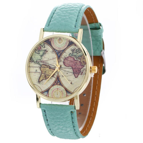 Watches Women Fashion Faux Leather Strap Quartz-watch 2017 World Map Pattern Quartz-watch Clock Wristwatches For Women #63
