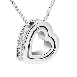 Gold-Color Austrian Crystal Luxury Brand Heart Necklaces & Pendants Fashion Jewelry for Women Gift