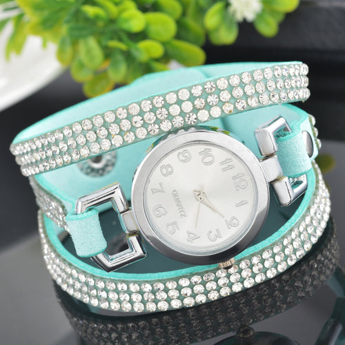 Doreen Box Velvet Quartz Wrist Watches Multicolor Clear Women Jewelry Rhinestone Battery Included 21cm(8 2/8