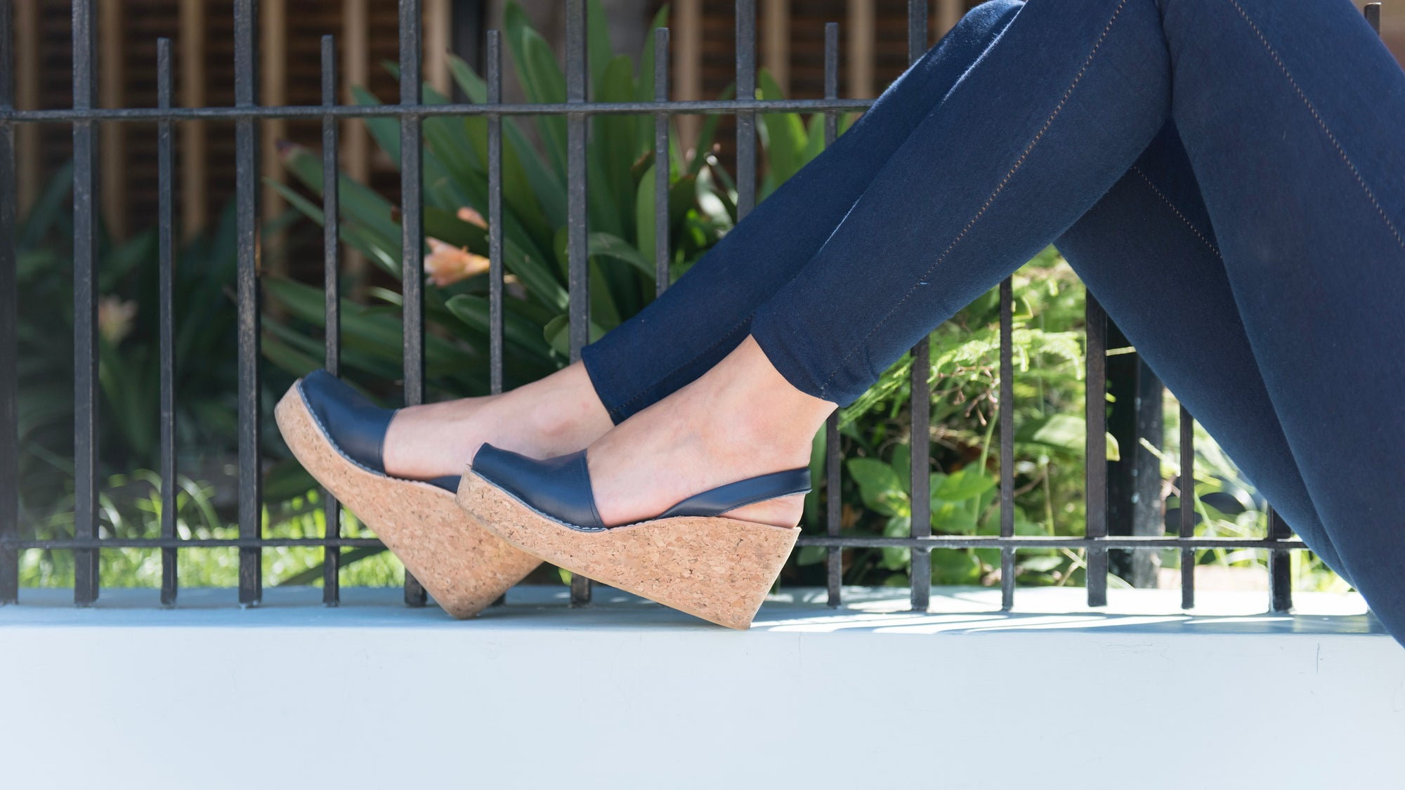 navy blue cork wedge sandals