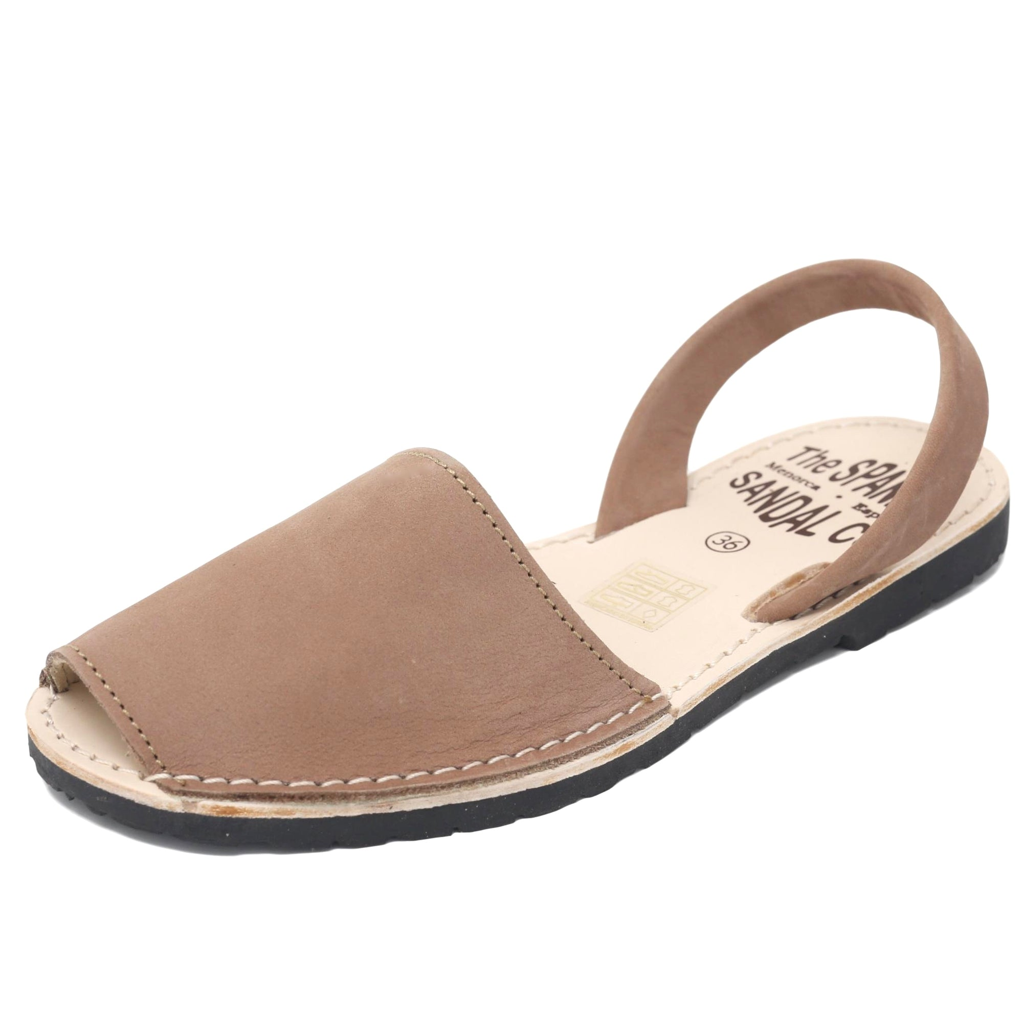 Classic tan nubuck Spanish sandals - diagonal view