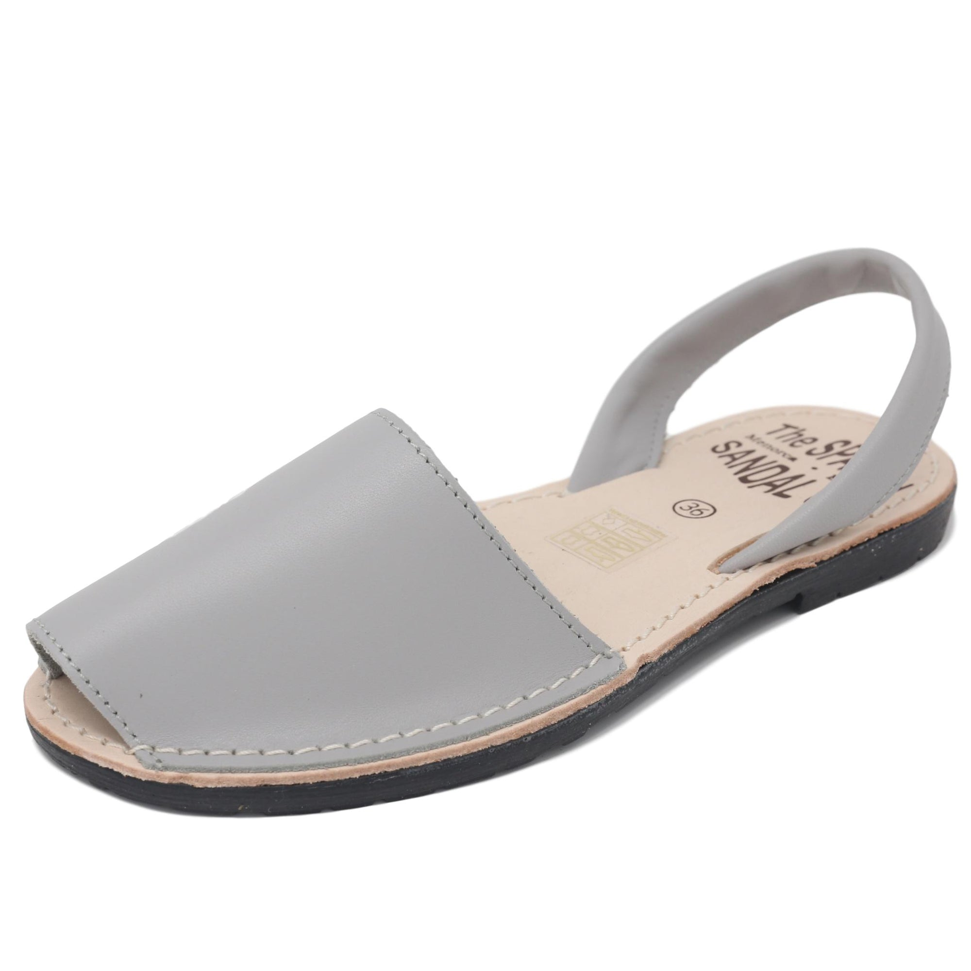 Classic soft grey sandals - diagonal view