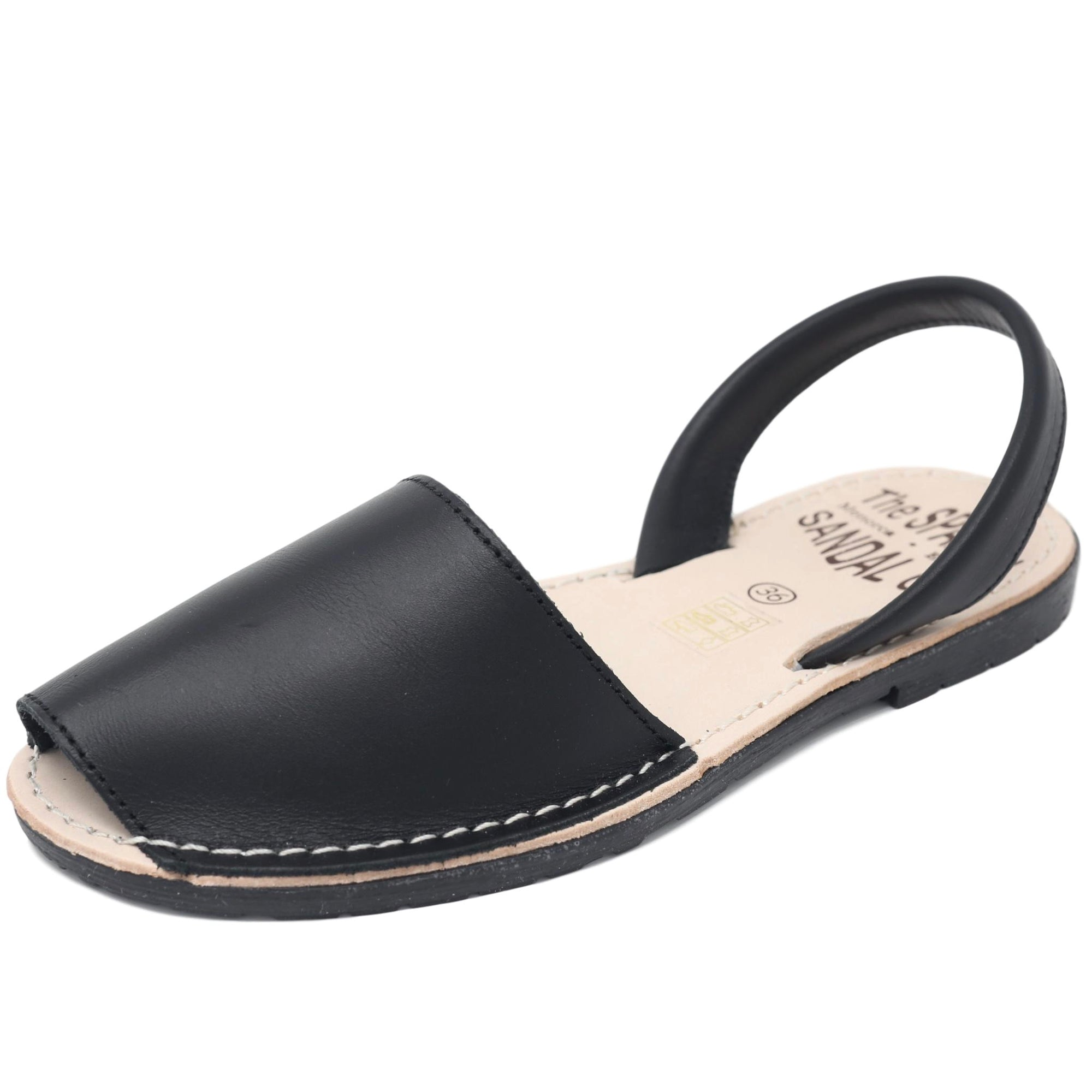 diagonal view of black leather Spanish Sandals