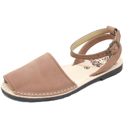 Tan nubuck sandals with strap - diagonal view