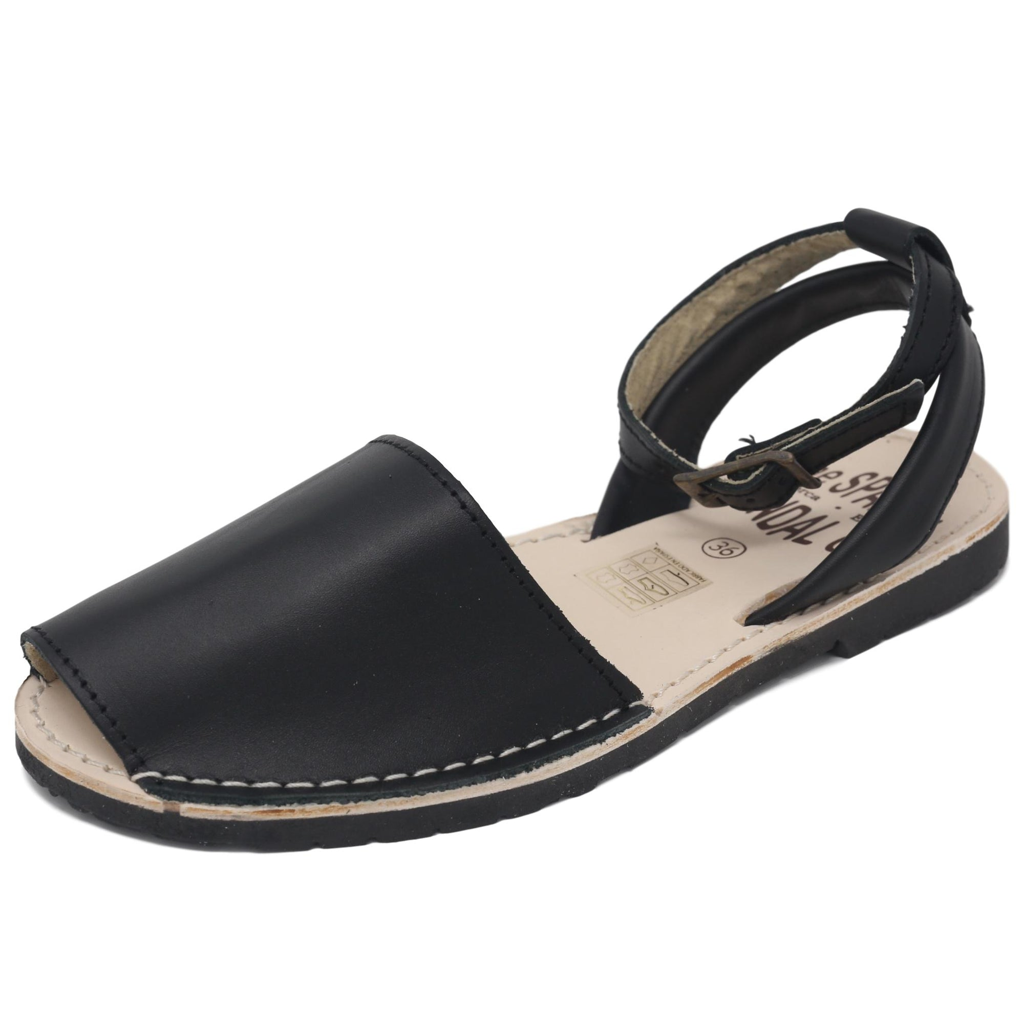Black sandals with strap - diagonal view