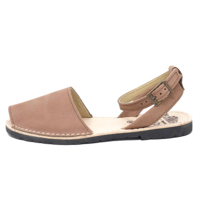 Tan nubuck sandals with strap - side view