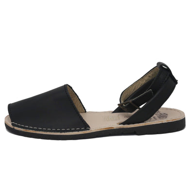 Black sandals with strap -side view