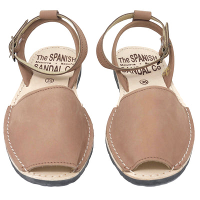 Tan nubuck sandals with strap - front view