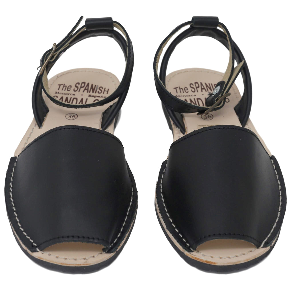 Black sandals with strap - front view