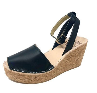 Black cork wedge sandals with strap