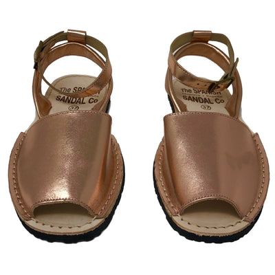 Metallic rose gold sandals with strap