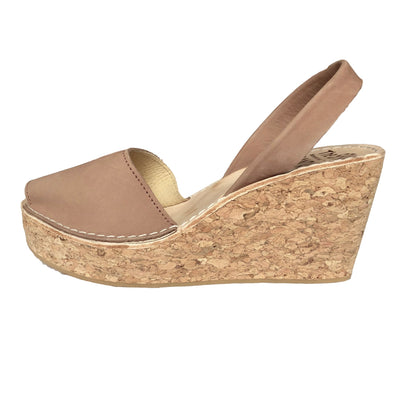 Tan nubuck cork wedge sandals - side view