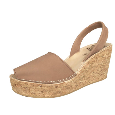Tan nubuck cork wedge sandals - diagonal view