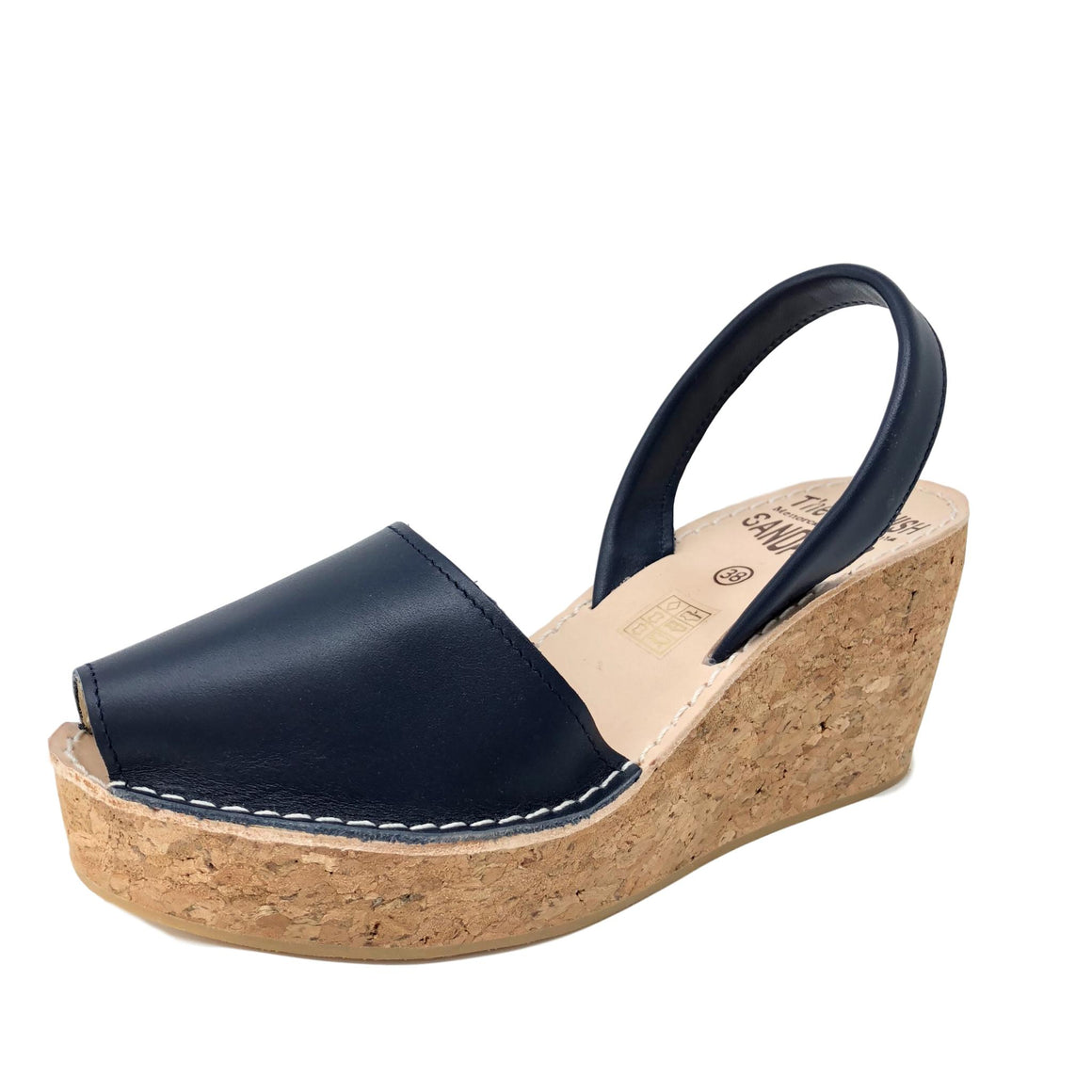 Navy blue cork wedge