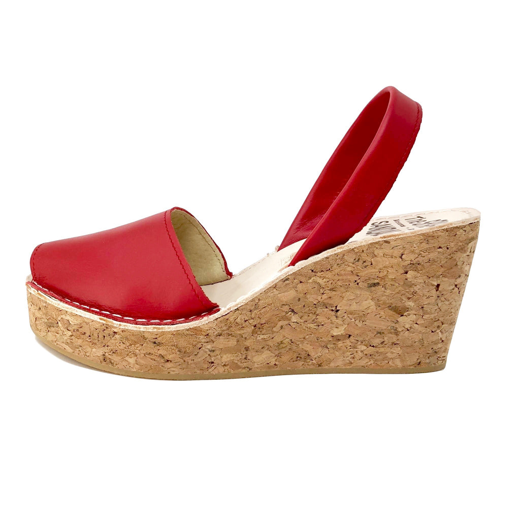 Red cork wedge sandals - side view