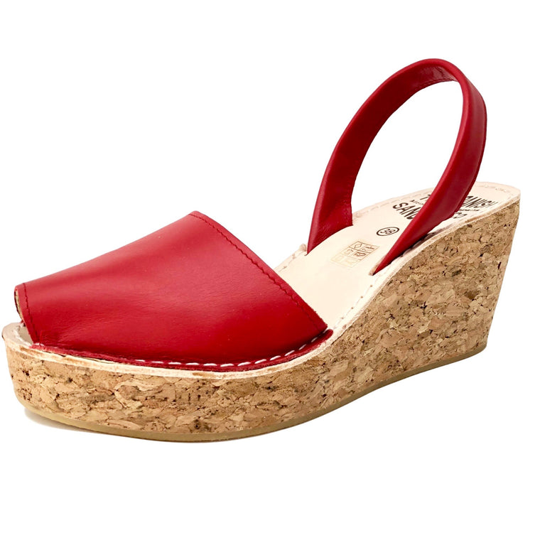 Red cork wedge sandals - diagonal view