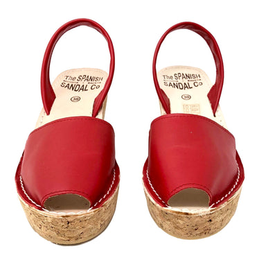 Red cork wedge sandals - front view