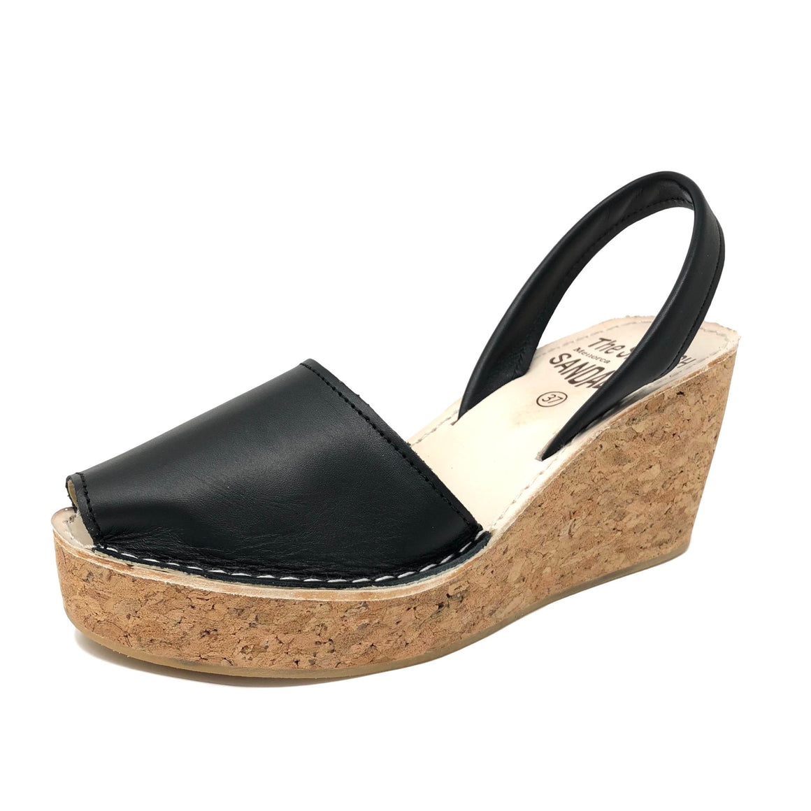 Black cork wedge spanish sandals - diagonal view