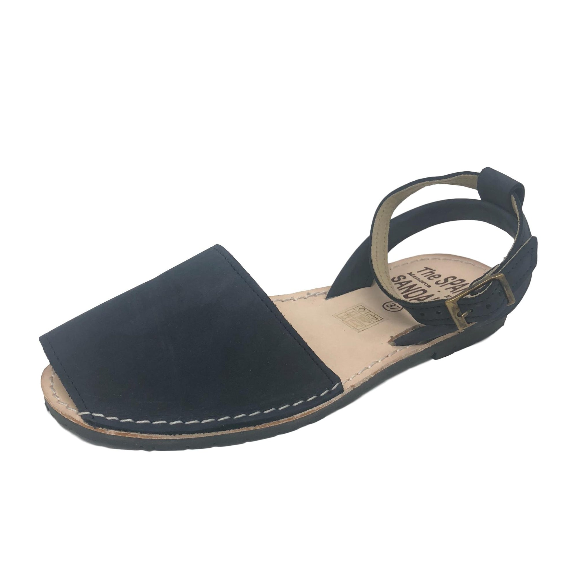 Dark blue sandals with ankle strap