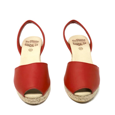 Red espadrille wedge sandals