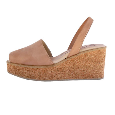 Tan nubuck cork wedge sandals CLOUD