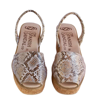 Snake print cork wedge sandals CLOUD