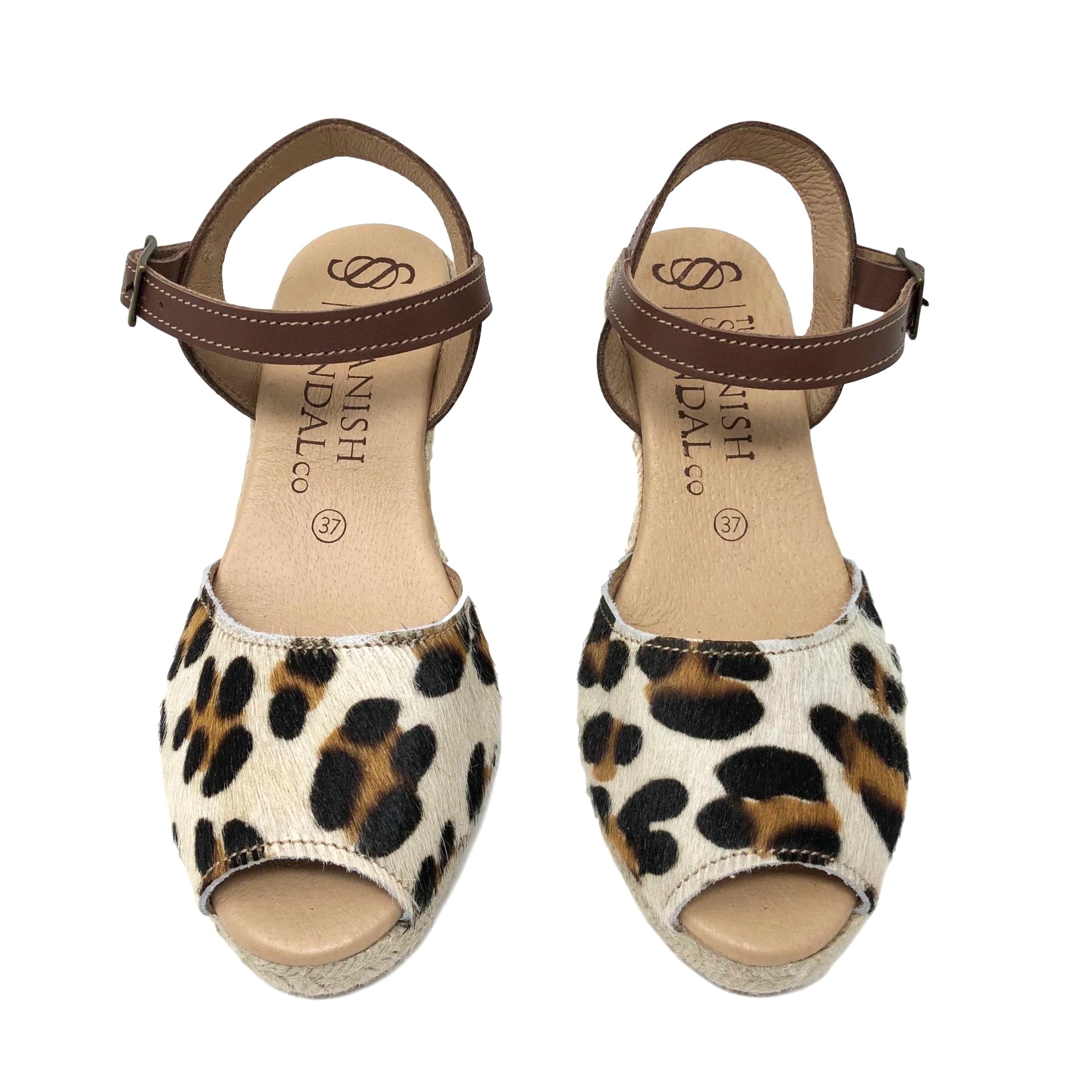 385824c00081 Leopard print espadrille wedges with strap