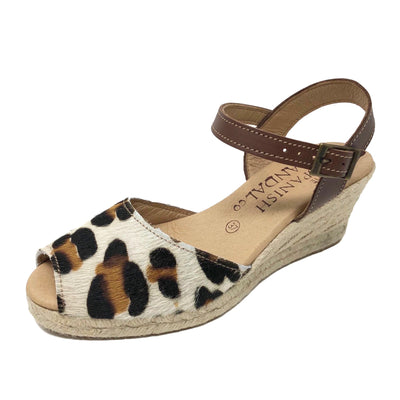 Leopard print espadrille wedges with strap