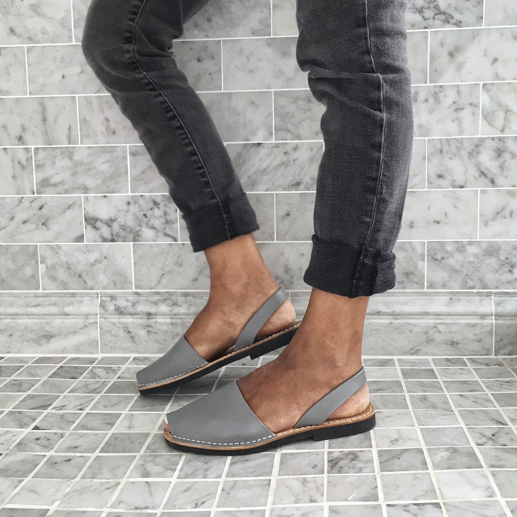 Classic soft grey sandals  with black jeans - Instagram