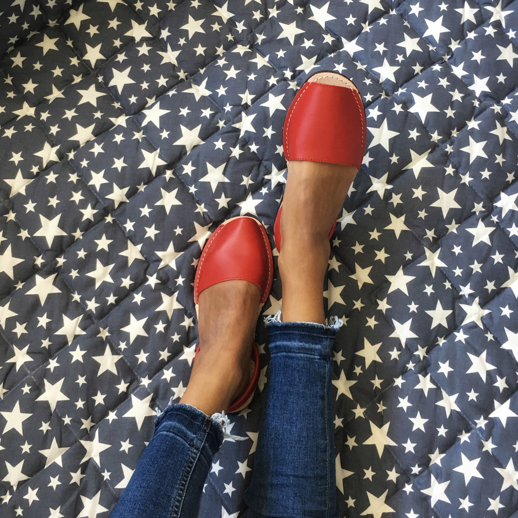 Classic red sandals  with blue jeans - instagram