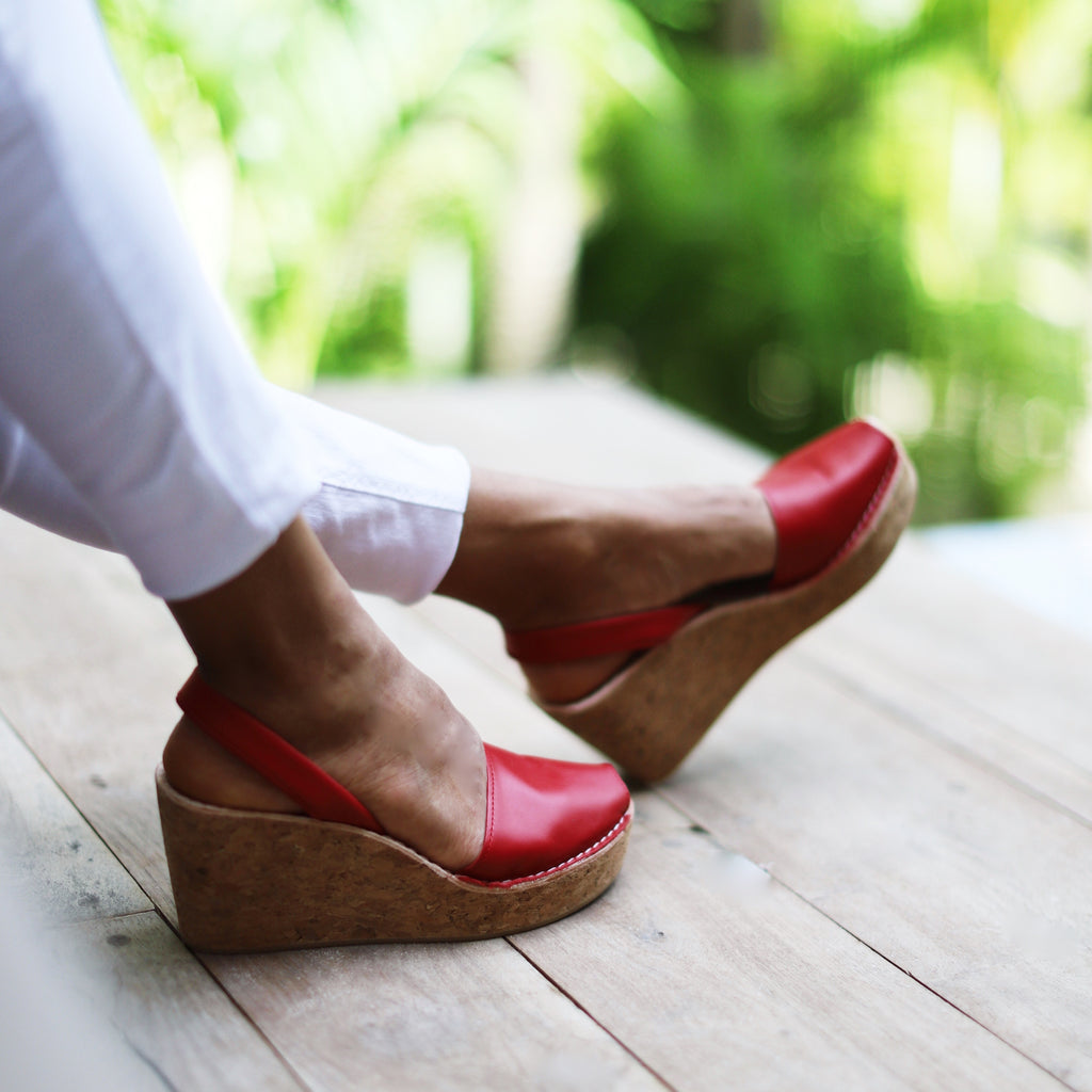 red cork wedge sandals - with white jeans