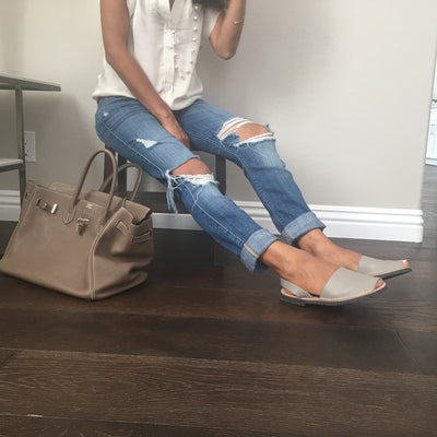 Classic taupe sandals with distressed jeans - Instagram