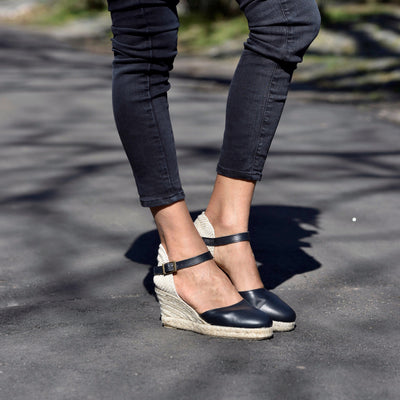Black espadrille Mary Janes