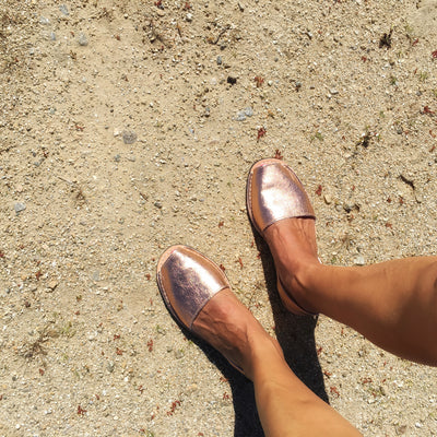 Metallic rose gold sandals