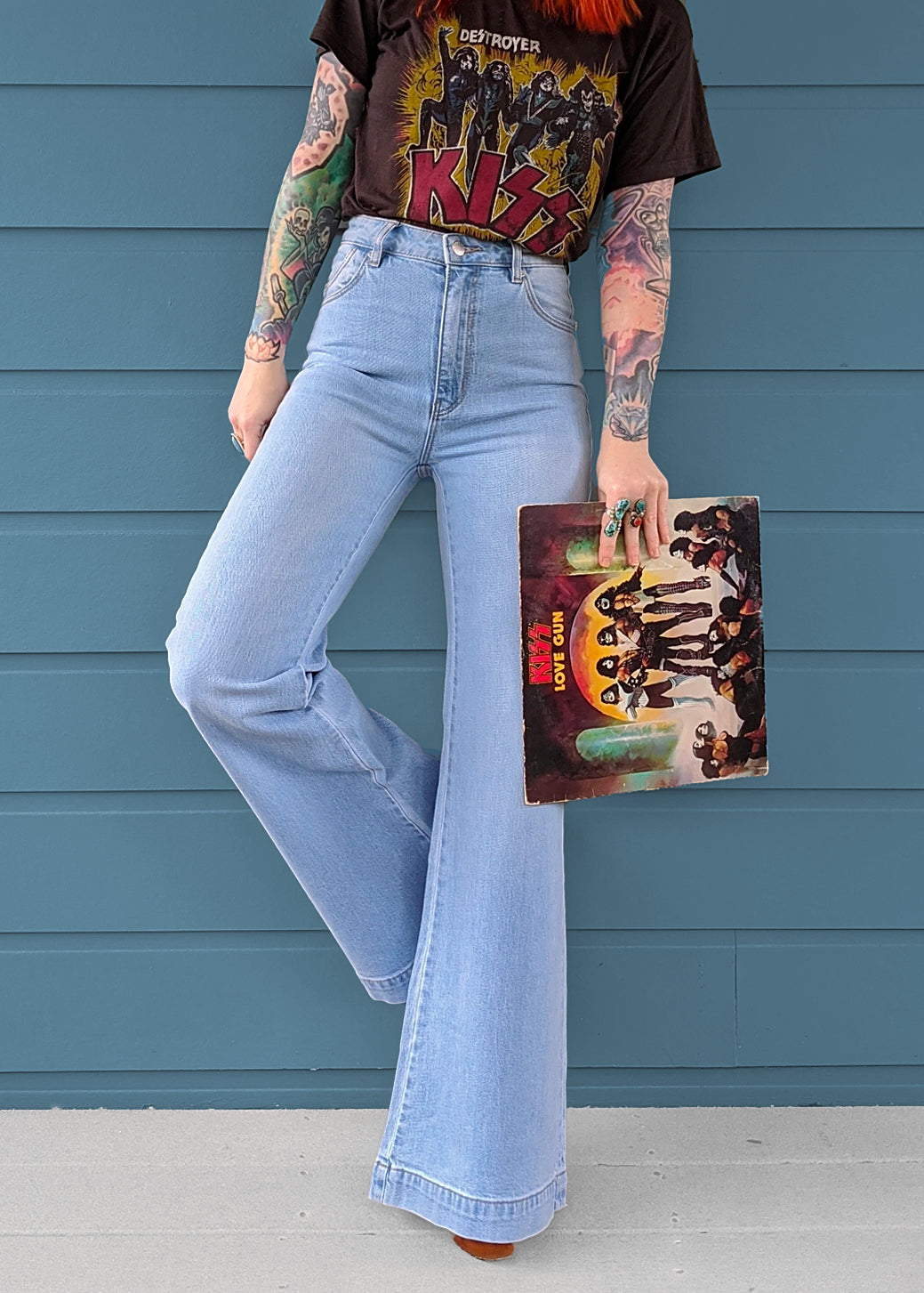 Rolla's Jeans Tash Blue Stretch Denim Flare Bell Bottom Jeans