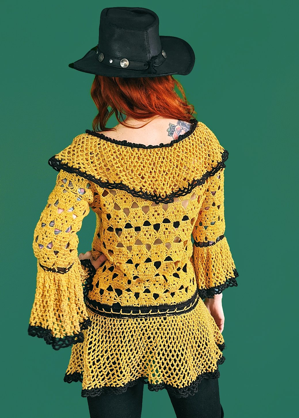 Vintage 1970s Crochet Bell Sleeve Tunic Sweater Gold Black Victorian Hippie