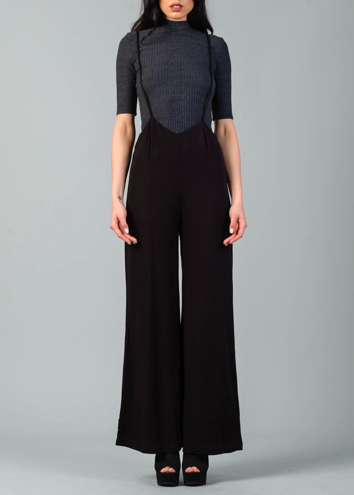 Keaton Wide Leg Suspender Pants
