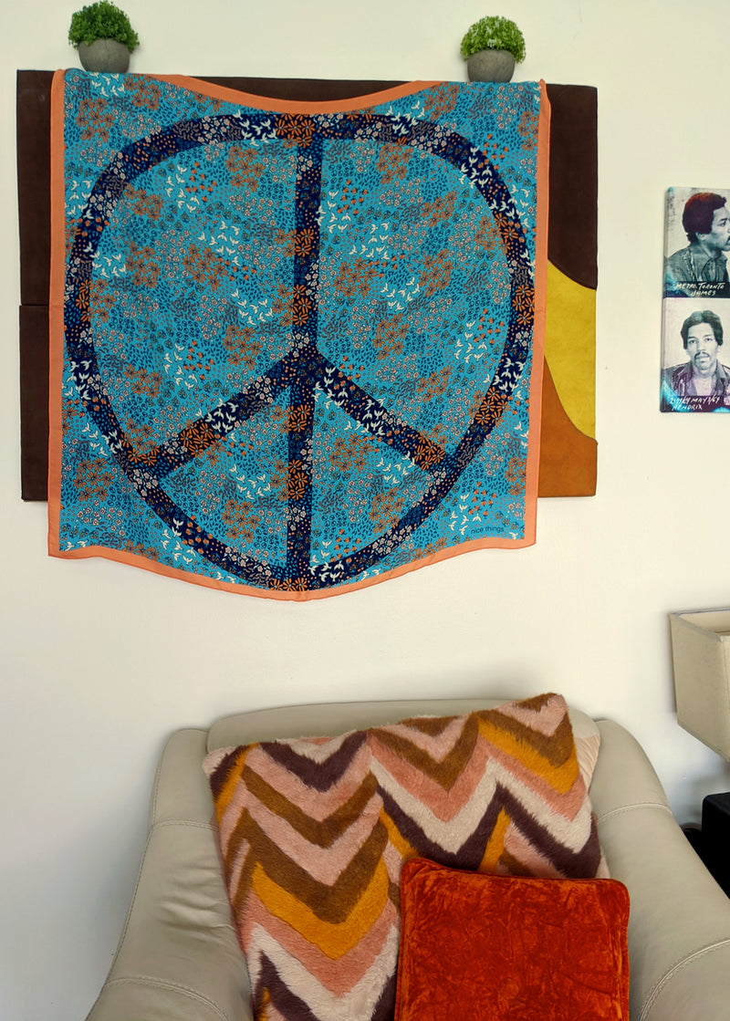 Blue Oversized Peace Sign Scarf