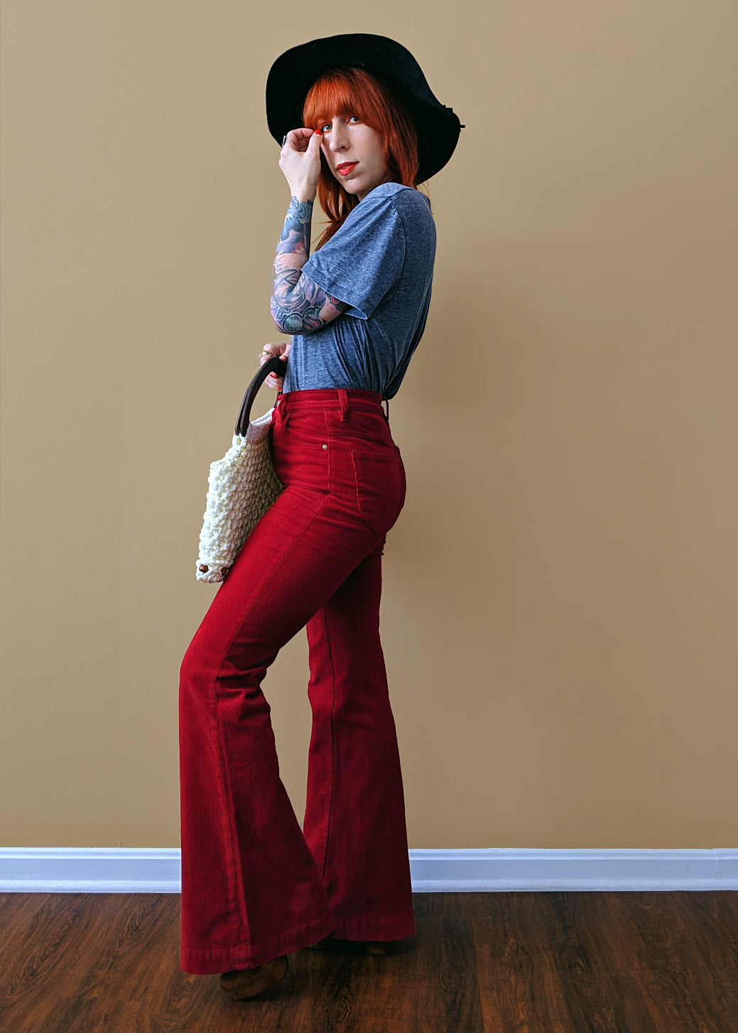 Cherry Red Cord Sailor Pants