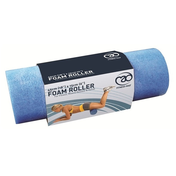 Fitness Mad Foam Roller Blue 6 Inch (Half Length 18 Inch)