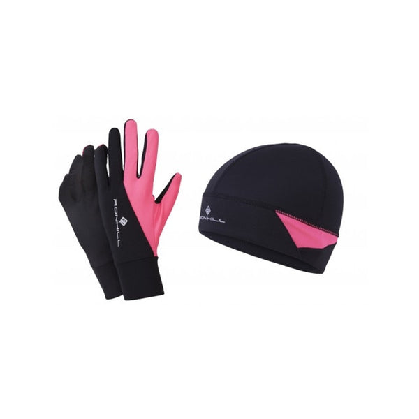 Ronhill Beanie And Glove Set /| Black/Fluo Pink