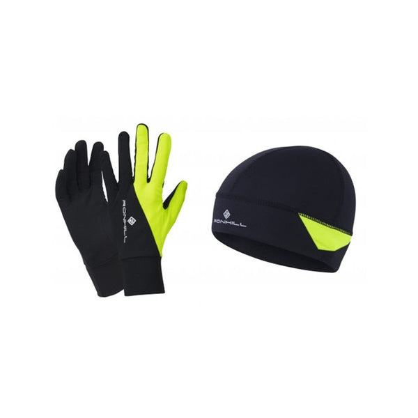 Ronhill Beanie And Glove Set /| Black/Fluo| Yellow