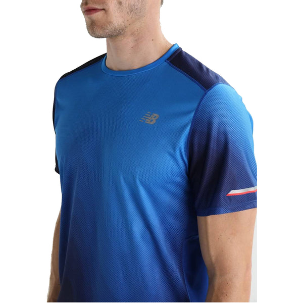 New Balance Mens Ice Printed Short Sleeve Tee | Blue