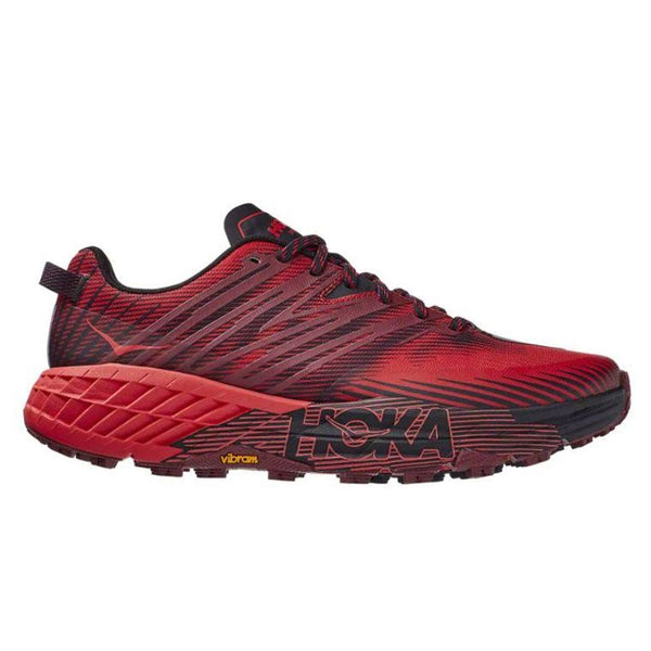 Hoka Speedgoat 4 Mens | Cordovan/high Risk Red