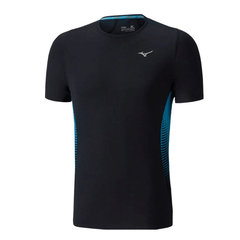 Mizuno Mens Aero Tee | Black/Turkish Tile
