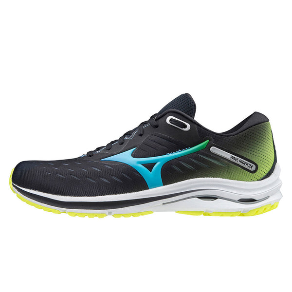 Mizuno Wave Rider 24 Mens | Black/blueatoll/syellow