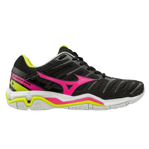 9d6134a9d246 Mizuno Wave Stealth 4 Womens Netball Shoes | Black/pinkglo/syellow ...